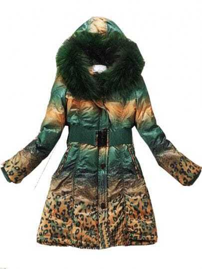 Green Gradual Change Fur Hooded Drawstring Down Coat