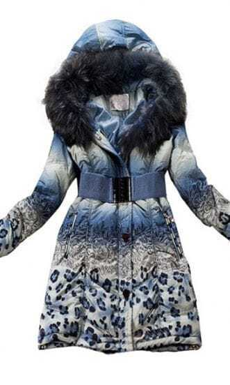 Blue Gradual Change Fur Hooded Drawstring Down Coat