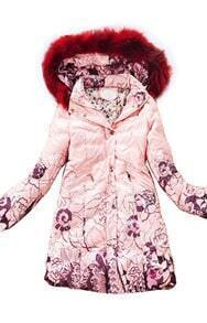 Pink Fur Hooded Zipper Embellished Floral Down Coat