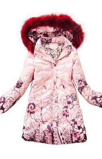 Pink Fur Hooded Zipper Embellished Floral Down Coat