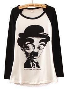 Black White Long Sleeve Chaplin Print Cartoon T-Shirt