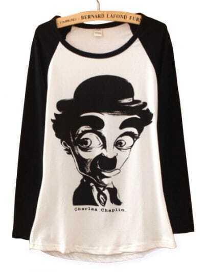 Black White Long Sleeve Chaplin Print Cartoon T-Shirt