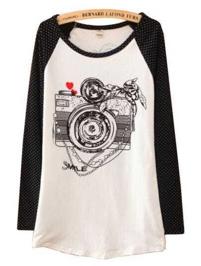 Black White Long Sleeve Camera Print Cartoon T-Shirt