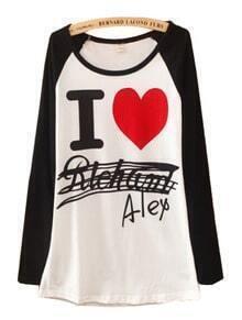 Black White Long Sleeve Heart Print Cartoon T-Shirt