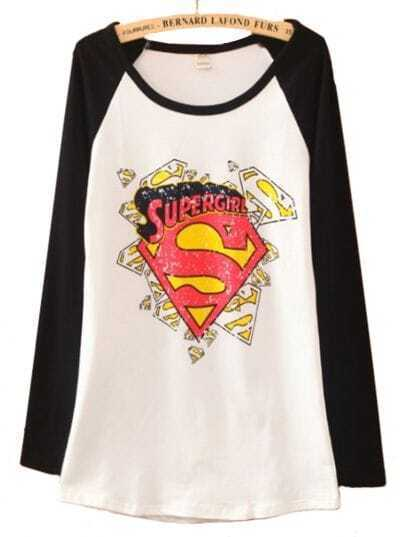 Black White Long Sleeve Superman Print Cartoon T-Shirt