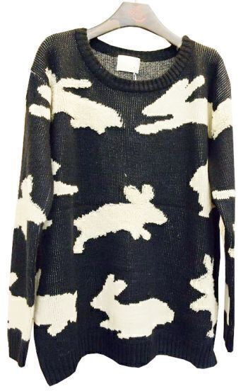 Black White Long Sleeve Rabbit Embroidery Loose Sweater