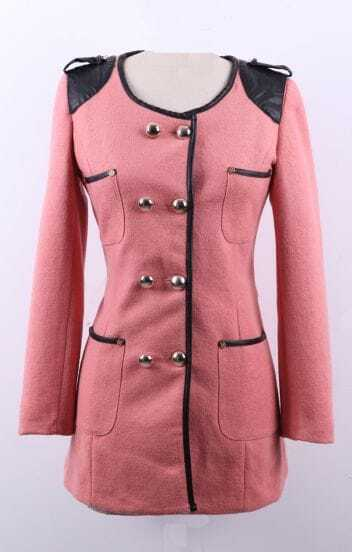 Pink Contrast PU Leather Shoulder Trimmed Double Breatsed Coat