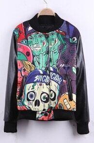 Black Contrast PU Leather Sleeve Abatract Pirates Print Varsity Jacket