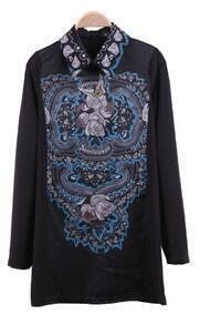 Black Wing Collar Retro Floral Print Zip Back Short Dress