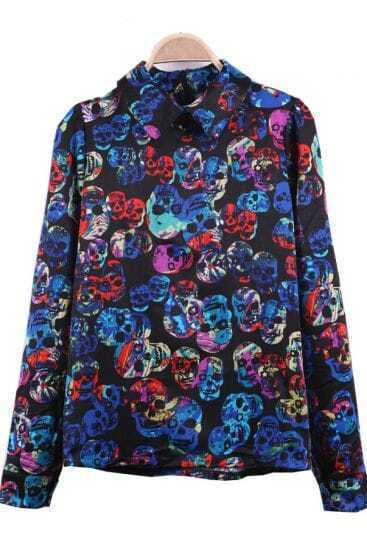 Blue Watercolor Skull Print Wing Collar Black Satin Blouse