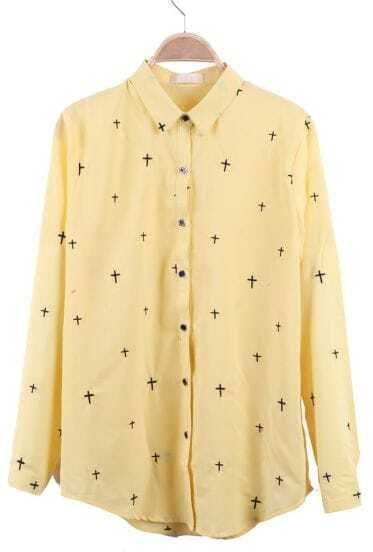 Yellow Wing Collar Embroidered  Cross Curved Hem Blouse