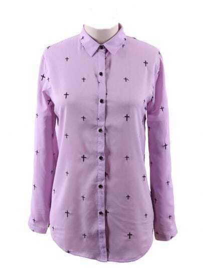 Purple Wing Collar Embroidered  Cross Curved Hem Blouse