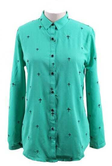 Green Wing Collar Embroidered  Cross Curved Hem Blouse