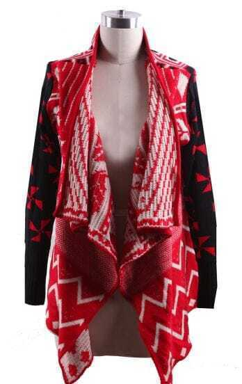Red Draped Collar Geo Tribal Pattern Open Cardigan