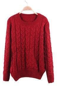 Red Round Neck Cable Knit Ribbed Pullover Sweater