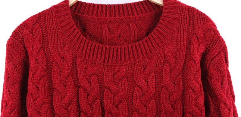 Red Round Neck Cable Knit Ribbed Pullover Sweater -SheIn(Sheinside)