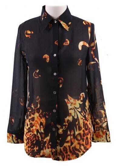 Black Wing Collar Leopard Floral Print Curved Hem Chiffon Blouse