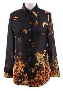 Black Wing Collar Leopard Floral Print Curved Hem Chiffon Blouse