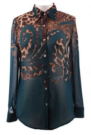 Dark Green Wing Collar Leopard Floral Print Sheer Chiffon Blouse