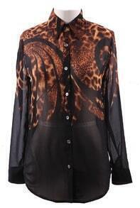 Black Wing Collar Leopard Floral Print Sheer Chiffon Blouse