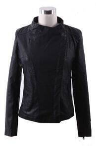 Black Band Collar Pocket Side PU Leather Biker Jacket