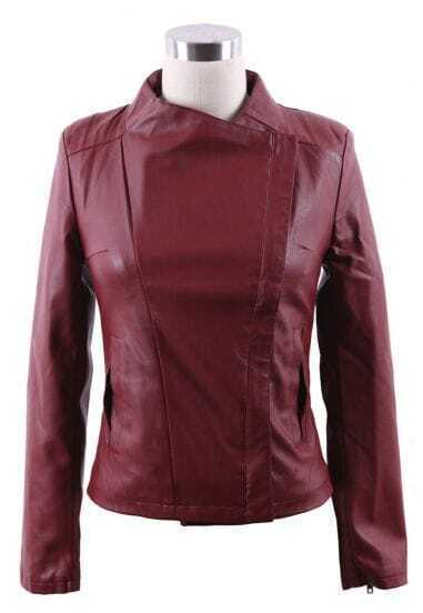 Oxblood Band Collar Pocket Side PU Leather Biker Jacket