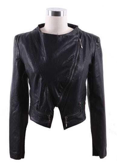 Black Wide Lapel Zipper Embellished Hem PU Leather Biker Jacket