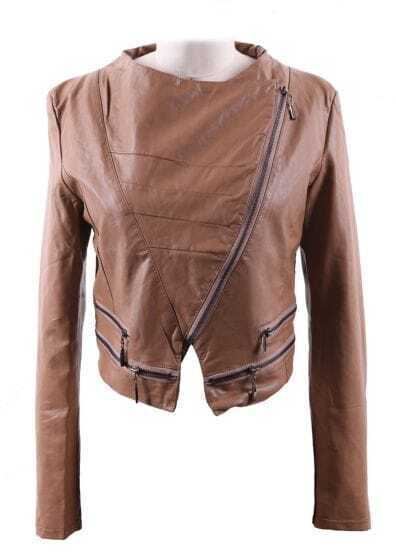 Khaki Wide Lapel Zipper Embellished Hem PU Leather Biker Jacket