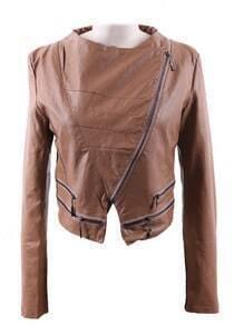Khaki Wide Lapel Zipper Embellished Hem PU Leather Biker Jacket