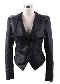 Black Wide Lapel Rivet Shoulder Leather Biker Jacket