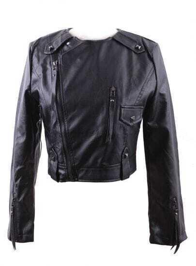 Black Round Neck Studded Embellished PU Leather Biker Jacket