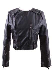 Black Round Neck Studded Embellished PU Leather Biker Jacket