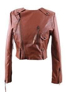 Camel Round Neck Studded Embellished PU Leather Biker Jacket