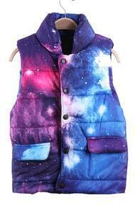Blue and Pink Galaxy Print Band Collar Puffer Vest
