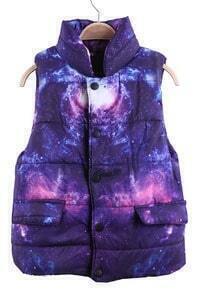 Purple and Pink Galaxy Print Band Collar Puffer Vest