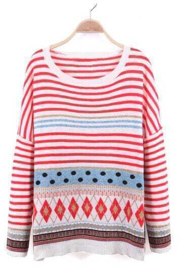 Red and White Dropped Shoulder Striped Geo Pattern Knitted Sweater