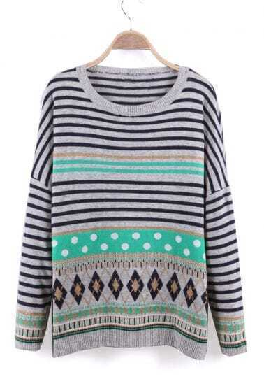 Green Dropped Shoulder Striped Geo Pattern Knitted Sweater