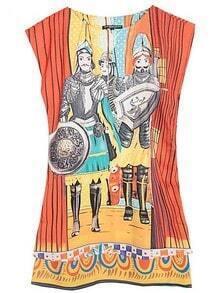 Yellow Round Neck Sleeveless Soldier Print Dress