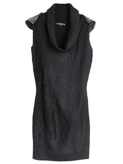 Black Sleeveless Shoulder Rivet Sweater Dress