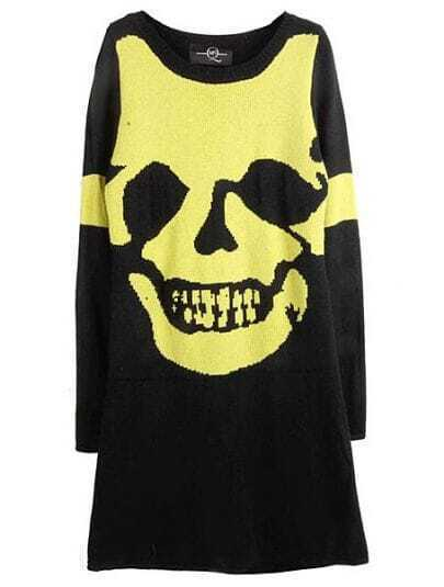 Black Yellow Long Sleeve Skull Print Sweater Dress