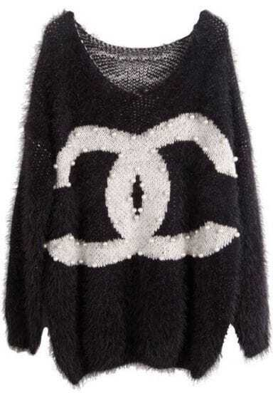 Black Pearls Embellished Double C Print Loose Sweater