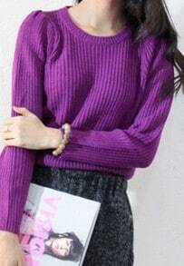 Purple Long Puff Sleeve Vertical Stripe Sweater