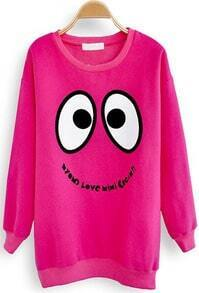 Rose Red Long Sleeve Smiley Print Cartoon Sweatshirt