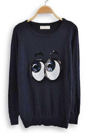 Navy Long Sleeve Sequined Eyes Print Sweatshirt