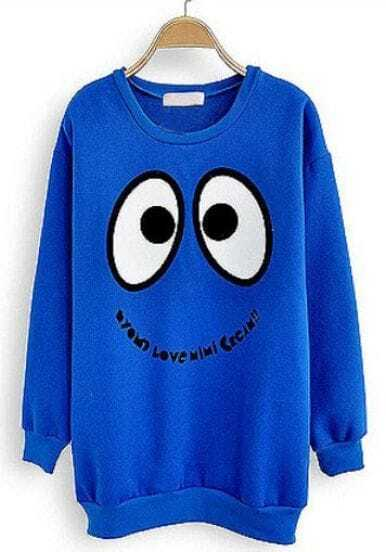 Blue Long Sleeve Smiley Print Cartoon Sweatshirt