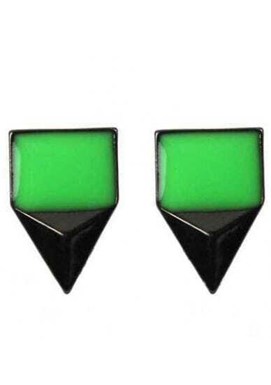 Green Gemstone Black Triangular pyramid Stud Earrings