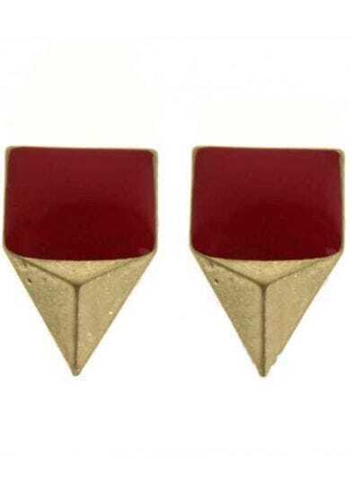 Red Gemstone Gold Triangular pyramid Stud Earrings