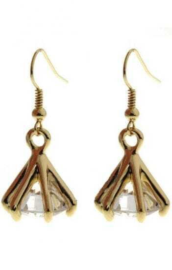 White Crystal Gold Claw Dangle Earrings