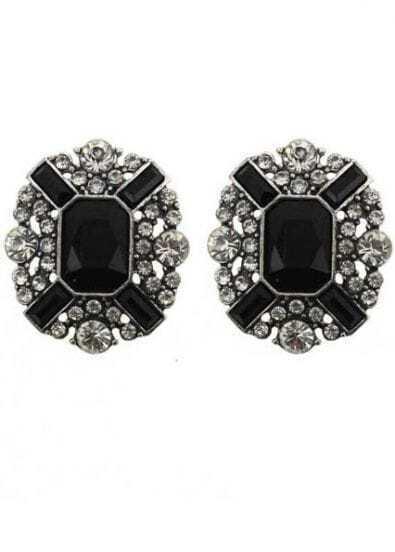 Black White Gemstone Stud Earrings