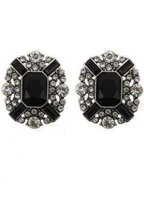 Black White Gemstone Stud Earrings